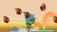 Yoshi attacks Shy Guy