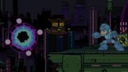 Mega Man uses Black Hole Bomb of Mega Legends