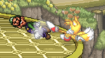 Tails uses ledge attack to Luigi