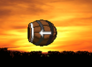 Barrel cannon with a player
