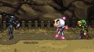 Bomberman facing Dark Link