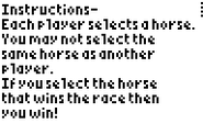 Horse Racers Instructions