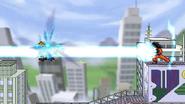 Goku using Kamehameha on Ichigo