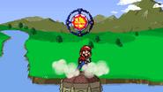 Mario throws a Bumper upward
