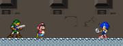 Sonic in A Super Mario World