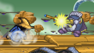 Black Mage throwing a Beam Rod at Meta Knight
