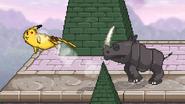 Rambi attacking Pikachu