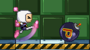 Bomberman kicking a bomb