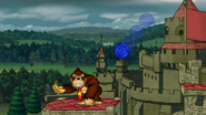DK steals a Banana from Sonic