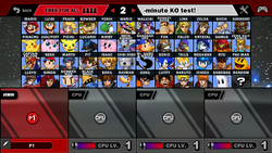 SSF2 character selection screen