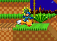 Tails attacking Mega Man by his Spin Dash