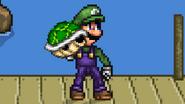 Luigi holding a Green Shell