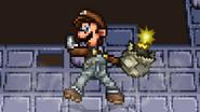 Luigi holding Link's bomb