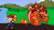 Mario uses Fire Flower to Bowser