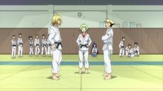 Nabeshima overseeing Zenkichi's and Akune's match