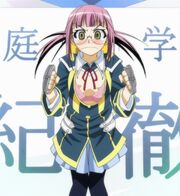 Onigase in one of Medaka's uniforms