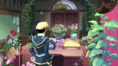 Zenkichi watering the flowers