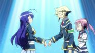 Onigase, Zenkichi, and Medaka handcuffed together