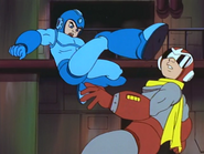 Mega Man kicks Proto Man