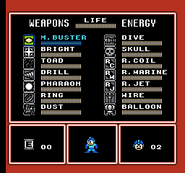 MM4 Weapon Select Screen