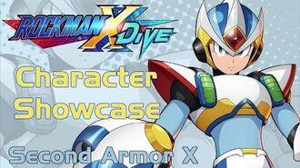 Mega Man X DiVE - Second Armor X Showcase Gameplay, Skills, Art, & 3D Model
