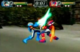 Zero and Megaman.exe in Onimusha Blade warriors