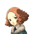 P5 portrait of Haru Okumura's winter attire