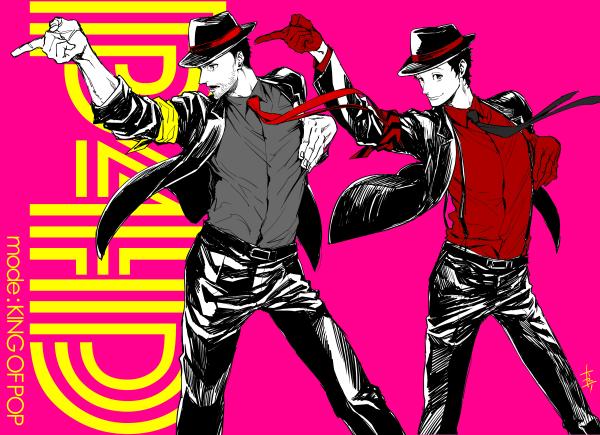 File:P4D illustration of Dojima and Adachi by Rokuro Saito (P4U2 manga artist).png