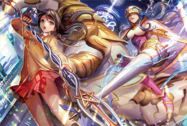 File:SMTxFE Tsubasa Oribe and Caeda illustration by Aoji for Fire Emblem Cipher Series 4.png