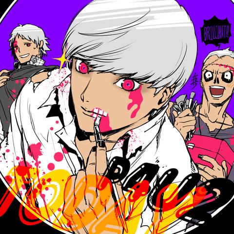 File:P4AU Illustration Halloween 2016 of Yu, Yosuke, and Kanji by Rokuro Saito.png