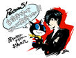 P5 llustration of the Protagonist and Morgenana by Shigenori Soejima