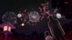 Nanako and Yu watching firework together