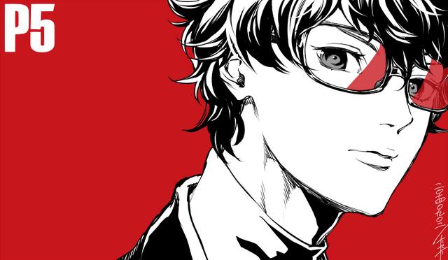 File:P5 Illustration of the Protagonist by Rokuro Saito (P4U2 manga artist).png