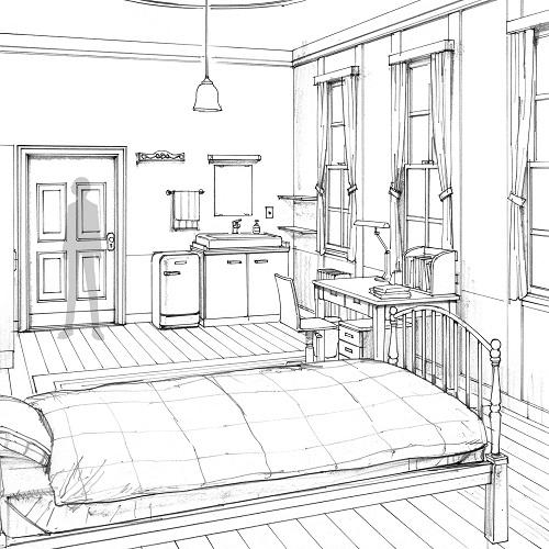 image cocnept sketch of makoto s room jpg megami tensei wiki