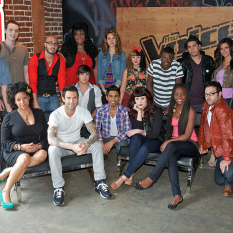 Adam with his team on <i>The Voice</i>.