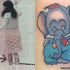 Melanie Martinez got a pair of tattoos on the back of her calves by artist Shon Lindauer in October 2015 featuring two characters from the 1936 Disney Silly Symphonies short film Elmer Elephant.  In the cartoon, Elmer picks flowers and brings them to Tillie Tiger for her birthday party.  The tattoo on Melanie's right leg shows Elmer looking bashful after giving Tillie the bouquest.