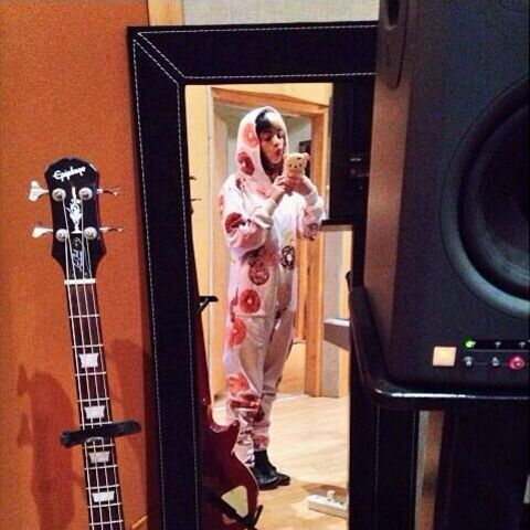 Melanie in the studio during the recording of the song.