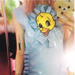Stella wearing the duck dress she designed for Melanie