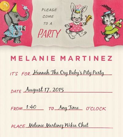 Come to my pity party!