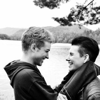 Lucas and his fiancé.