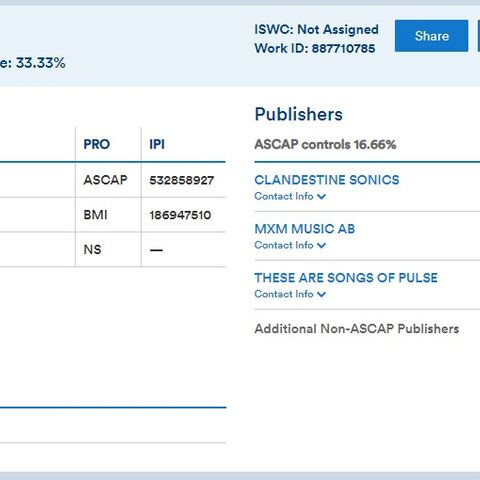 A screenshot of the song on ASCAP Repertoiry.
