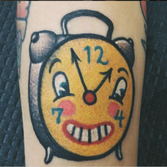 It is inspired by the works of contemporary artist Mark Ryden, but Melanie added her own little bit of flair to the design.  She took the face of a wall clock from the 2000 painting The Butcher Bunny and put it on an old fashioned alarm clock.