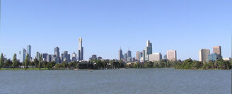 Albert Park Lake & Melbourne City Skyline