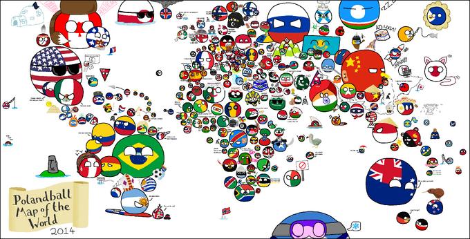 Polandball map of the world 2014