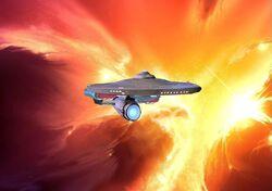 USS Discovery in a Nebula