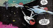 USS Enterprise leaving Earth