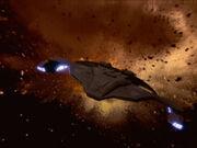 Sisko's Jem'Hadar attack ship escaping explosion