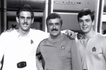 ...with (l) brother Montgomery and father James on the set of <i>The Motion Picture</i> in 1978