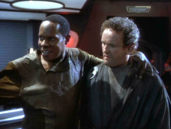 "Benjamin Sisko with ""<a href=""/wiki/Miles_O%27Brien_(mirror)"" title=""Miles O'Brien (mirror)"">Smiley</a>"""