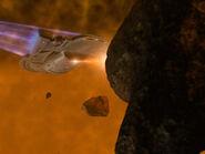 Voyager feuert Phaser aus Sekundärrumpf